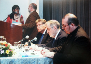 A. Yoel ben Arye at the book launch Two Ways, One redemption, with Rabbi Abraham Skorka , Father David Felipe Specchiale
