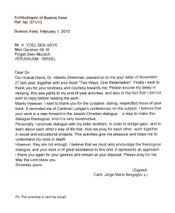 A letter from the Cardinal Jorge Mario Bergoglio with regard to the book Two Ways, One redemption
